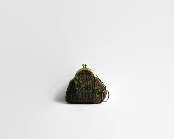 Tweed Burgundy Green, Small Coin Purse, Knitted Pouch, Change Purse, Coin Purse Keychain, Hand Knit Coin Purse, Coin Purse, Cute Coin Purse