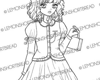 Digital Stamp Sweet Lolita with Bag Girl, Digi Coloring Page, PNG, Colouring, Shoujo Anime, Scrapbooking Supplies, Fashion, Instant download