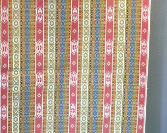 vintage tribal aztec ikat southwestern woven fabric in red gold and blue