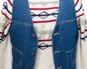 Men's Denim Vest / Vintage Wrangler Faux Shearling Vest / Size XS-Small