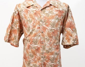 Men's Hawaiian Shirt / Vintage Pierre Cardin / Tropical Palm Fronds / Size Large