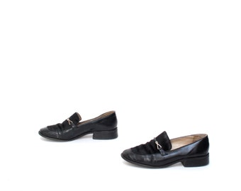 size 8 LOAFERS black leather 80s 90s COWHIDE FUR slip ons