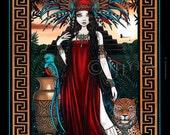 Toltec Jaguar Shaman Quetzal Priestess Zyanya Mesoamerican Fantasy Art 8x10 Signed PRINT