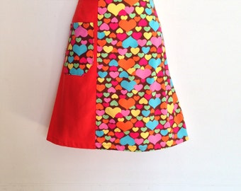 Hundreds of Hearts Skirt - any size - custom made - all sizes welcome - handmade by Evilruby - plus size skirt - aline skirt - womens skirt