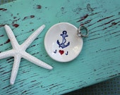 Engagement Ring Dish with Anchor, Nautical Design Engagement Ring Dish, Personalized Mini Ring Dish, Engagement Ring Dish Initials