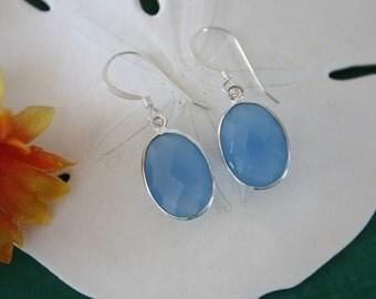 Blue Oval Earrings Silver Small, Chalcedony, Light Blue Earrings, Small, Tear Drop Gemstone, Dangle Earrings