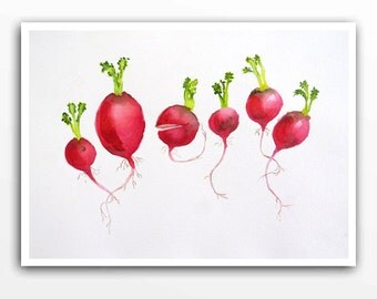 Original Watercolor Painting - Fresh Radishes Art - Kitchen wall decor Home and living Vegetable garden art  Home Decor  red - 9 x 12 K