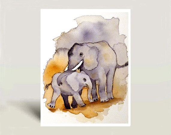 Baby Nursery Art Print - Watercolor Painting baby elephant family art for children Circus art Zoo Circus animal Child's room  - 8x10 N