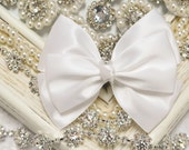 NEW! Set of 2pcs handmade Satin Bows--white (GR1135)
