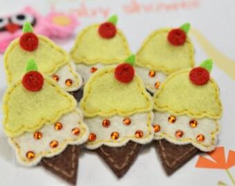 Set of 6pcs handmade felt ice cream w/ swarovski crystal--yellow (FT2152)