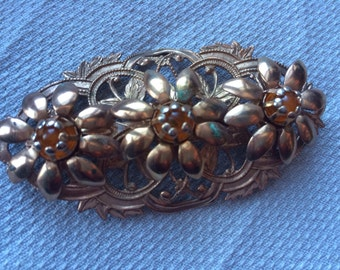 Vintage Goldtone and Rhinestone Floral Filagree Pin or Brooch