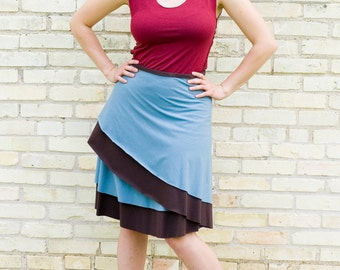 Organic Cotton & Bamboo Layered Reversible Wrap Skirt