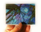 moon, Winter moon, ACEO original, Atc, Fine art photograph, miniature 2.50x3.50, Blue moon, winter trees, gift