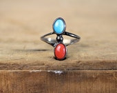 Turquoise Ring • Coral Ring • Southwestern Ring • Mexican Jewelry • 1970 Metal Ring • Southwestern Ring • Navajo Ring • Turquoise Coral Ring