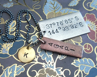 "Triple Pendant Necklace .. Grande & Skinny Rectangle, Mini Disc,  24"" Ball Chain. Hand Stamped. Antiqued Tags. Customize Your Quote, Phrase"