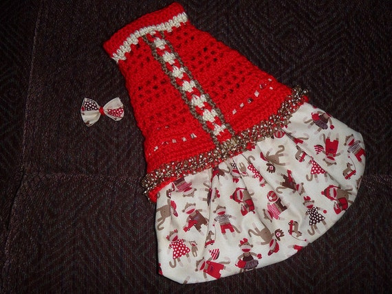 SOCK MONKEY or OWL Skirtter - Dog sweater dress - 2 To 20 Lb Dogs - Made to order