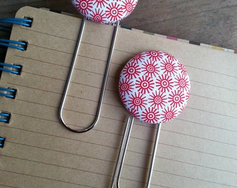 2 Jumb Red  Sunburst Fabric Covered Button Bookmarks with Large Paper Clip