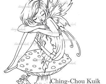 Toadstool Fairy - Digital Digi Stamp Instant Download / Snail Mushroom Fantasy Art by Ching-Chou Kuik