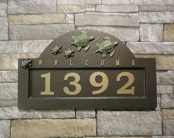 Sea Turtle Family Address Plaque Coastal House Sign