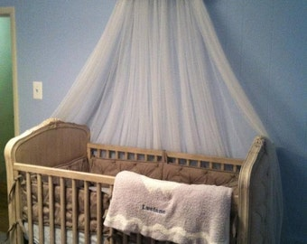 BURLAP Cream EMBROIRDERED SaLe DOSEL Padded Bed Teester Crib Canopy Crown Girls Room Decor Wall Hanging Baby Child