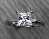 Princess Cut White Sapphire Twig Engagement Ring