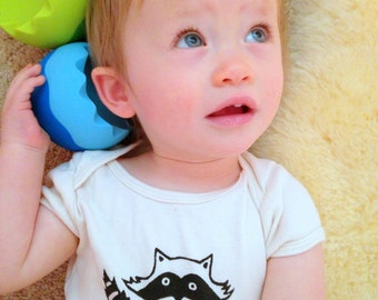 ORGANIC Raccoon Baby Bodysuit, Infant Creeper, One Piece Snapsuit, 3-6,  6-12, 12-18 Month Short-Sleeve