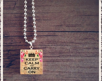 Scrabble Art Pendant - Keep Calm Carry On Pink Rose - Scrabble Game Tile Jewelry - Customize