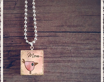 Scrabble Necklace - I Love Mom - Inspiration Series - Scrabble Pendant Jewelry Charm - Customize - Choose Your Style