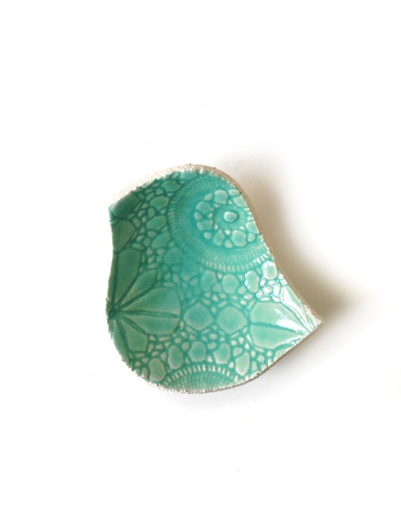 Ceramic bird bowl Seafoam turquoise pottery Vintage lace texture Soap dish Candle holder Valentine Home decor wedding gift for her under 25