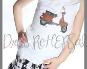 Red Vespa scooter t shirt or tank top 18 24 2 3 4 5 6 7 8 9 10