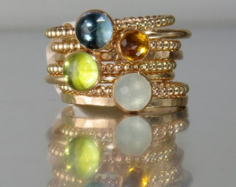 14k GOLD FILLED London Blue Topaz, Peridot, Aquamarine, Citrine Stacking Birthstones Mothers rings, Stackable Mothers Rings