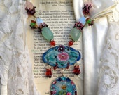 Lilygrace Statement Rose and Bird Cameo Necklace with Vintage Enamel, Jade, Chalcedony, Rose Quartz  and Vintage Rhinestones