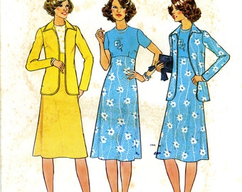 Simplicity 7940 Dress and Unlined Jacket Size14 Uncut Vintage Sewing Pattern 1977