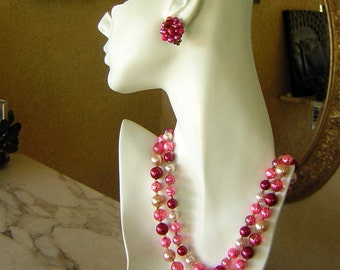 Candy Pink Necklace Earring Set Faux Pearls Double Strand & Clip On - Madmen Vintage 50s 60s