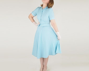 50s Aqua Gingham Jacket and Flaring Skirt - Summer Suit S