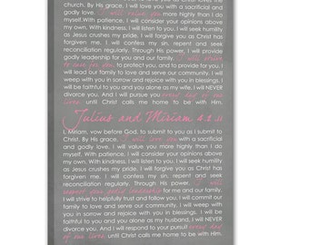 Wedding VOWS  Word Wall Art  Writing on Canvas, Vows Art Gift, CUSTOM wedding or anniversary, canvas 12X24