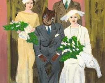 The wedding party.  Original oil painting by Vivienne Strauss.