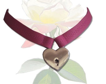 Locked With Love BDSM Collar Leather Submissive BDSM Daytime Slave Collar Pink BDSM Jewelry