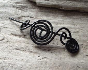 "Black Shawl Pin Scarf Pin- Aluminum  Wire Hammered Design-Halloween Black Gothic Shawl Pin - ""Small Black Hole"""