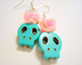 Turquoise and Pink Day of the Dead Roses and Sugar Skull Earrings