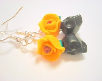 Sugar Skull and Rose Earrings Tiny Black and Orange Day of the Dead Earrings