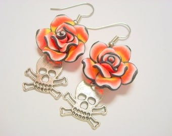 Red, Yellow, Black Rose with Silver Sugar Crossbones and Skull Earrings