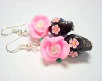 Sugar Skull Earrings Black and Pink Day of the Dead Rose Earrings