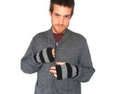 Men's Fingerless Gloves - Hand knit in grey and black stripes - MADE TO ORDER