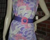 60s NWT S Space Age Sun Mini Dress Abstract Floral Print w Bold Belt Textured Poly Vintage