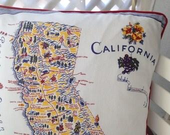 """California Pillow Cover, California Home Decor, 18"""" Retro California Map Pillow, Retro Porch Pillow, Souvenir Califronia Pillow"""