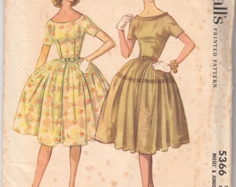 Vintage Sewing Pattern McCall's 5366 Misses' Party Dress 1960's 33 Bust - With FREE Pattern Grading E-Book Included