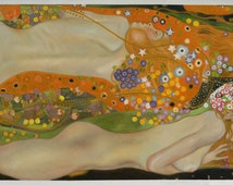 Water Serpents II - Gustav Klimt high quality hand-painted oil painting reproduction (31.5 x 57 in.)