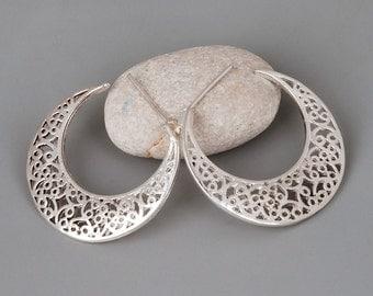 Silver Earrings, Filigree Earrings, Silver Hoop Earrings, Silver Filigree Earrings, Sterling Silver Hoop Earrings, Designer Earrings