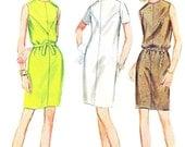 1960s Dress Pattern McCalls 9145 Sleeveless Dress Short Sleeve Mod Belted Shift Dress Slim Skirt DressWomens Vintage Sewing Pattern Bust 34